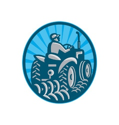 Farmer Plowing With Tractor vector image vector image