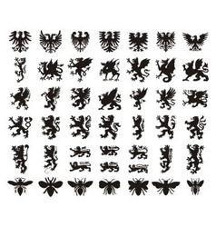 Heraldic elements set vector image vector image