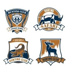 Hunting club icons safari hunt emblems vector