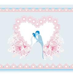 stylish wedding invitation card with kissing vector image vector image