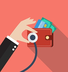 Wallet financial checkup vector image