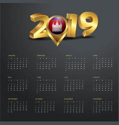 2019 calendar template cambodia country map vector