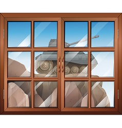 A window across the cliff with a tank vector