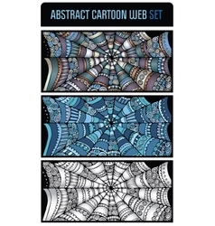 Abstract cartoon spider web background set vector image