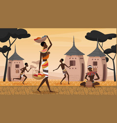 african village landscape scene young woman vector image