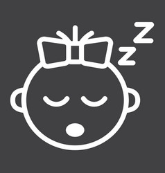 baby girl sleep line icon child and infant vector image