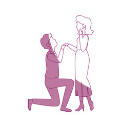 beautiful and romantic couple vector image