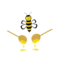 Bee with honey yellow vector