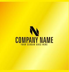 black letter n emblem with golden background vector image