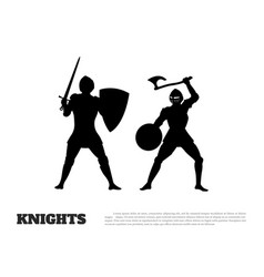 Black silhouette of knight battle vector