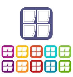 Black stickers icons set vector