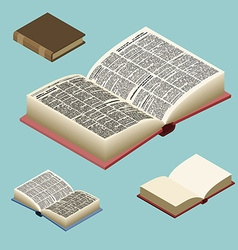Book isometric set Open volume isolated Ancient vector