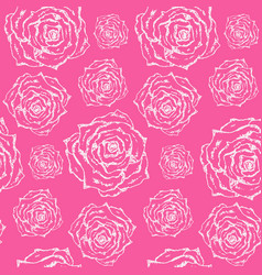 bright pink pattern with white outline roses vector image