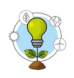 bulb with leaves and environment care icons vector image