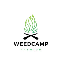 cannabis weed camp fire logo icon vector image