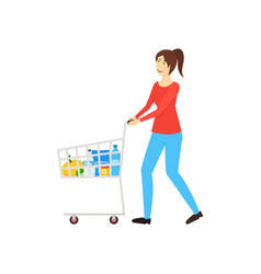 cartoon character woman with a cart buys products vector image