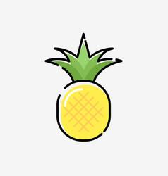 Cartoon pineapple cute silhouette exotic vector