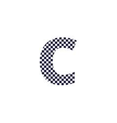 checker pattern logo letter c vector image