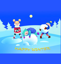 children play with snow winter holidays vector image