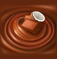 Chocolate candy background swirl with coconut vector