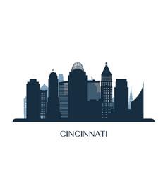Cincinati skyline monochrome silhouette vector