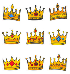 Collection gold crown various doodles vector