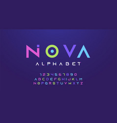 colorful letters and numbers font set colored vector image