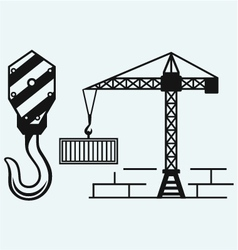 Crane working and hook of a crane vector image