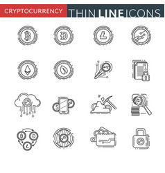 cryptocurrency thin line icons vector image