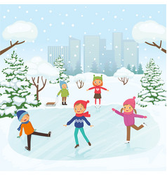 cute children are skating in the park vector image
