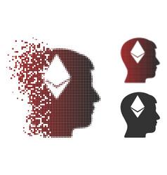 damaged pixel halftone ethereum thinking head icon vector image
