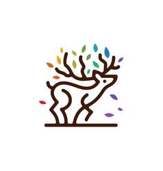deer tree branch leaf colorful monoline outline vector image