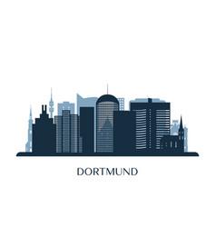 dortmund skyline monochrome silhouette vector image