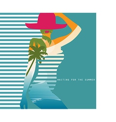 double exposure Woman in swimsuit vector image