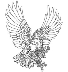 Eagle in flight outline tattoo vector