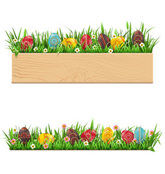 easter border with painted eggs vector image