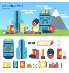 equipment for mountain trip vector image