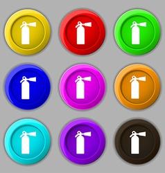 extinguisher icon sign symbol on nine round vector image