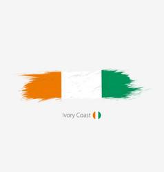 Flag ivory coast grunge abstract brush stroke vector