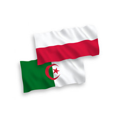 Flags algeria and poland on a white background vector