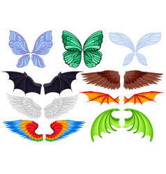 flat set of colorful wings of different vector image