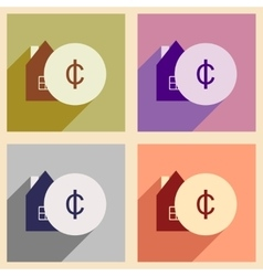 Flat with shadow icon concept house and coins vector