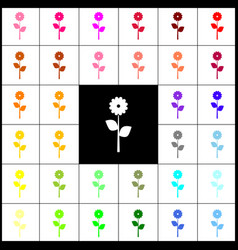 Flower sign felt-pen 33 vector
