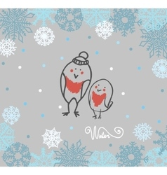 Funny birds bullfinch on winter background vector image