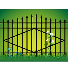 Gate and flowers vector image