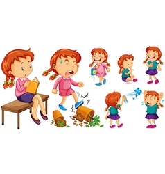Girl doing different activities vector