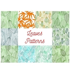 Green and yellow leaves seamless patterns set vector