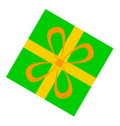 green gift box icon flat style vector image