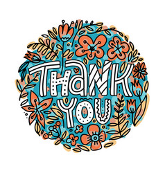 hand lettering thank you lettering sticker or vector image