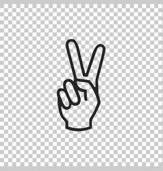 hand showing two finger icon isolated vector image